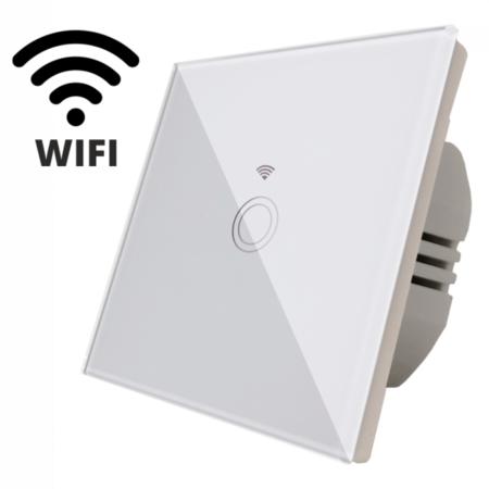 Intrerupator simplu alb  simplu TOUCH - actionare prin atingere plus comunicatie Wifi Cavi