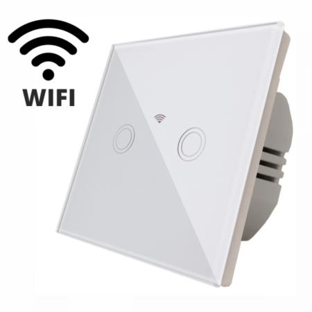 Intrerupator  dublu, comutator alb  simplu TOUCH - actionare prin atingere plus comunicatie Wifi Cavi