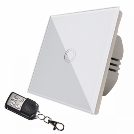 Intrerupator  simplu alb  simplu TOUCH - actionare prin atingere plus telecomanda Cavi