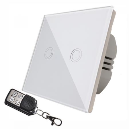 Intrerupator  dublu, comutator  alb  simplu TOUCH - actionare prin atingere plus telecomanda Cavi