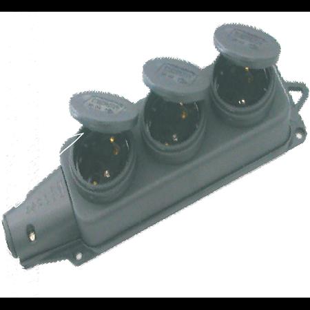 PRELUNGITOR 3xSHUK  DIN CAUCIUC FARA CABLU  IP44 Comtec