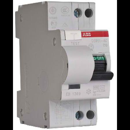 Siguranta automata bipolara cu protectie diferentiala 10A 30mA DS951 AC-C10/0,03A ABB ABB (Europe)