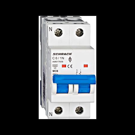 Intreruptor automat modular MCB, AMPARO 6kA, C 6A, 1P+N Schrack