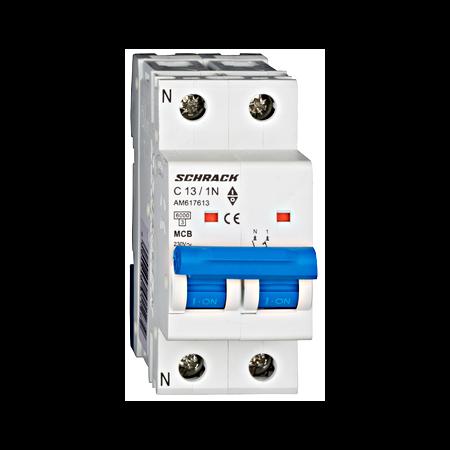 Intreruptor automat modular MCB, AMPARO 6kA, C 13A, 1P+N Schrack
