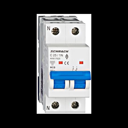 Intreruptor automat modular MCB, AMPARO 6kA, C 25A, 1P+N Schrack