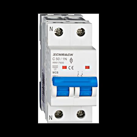 Intreruptor automat modular MCB, AMPARO 6kA, C 50A, 1P+N Schrack