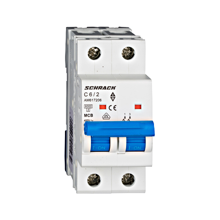 Intrerupator automat bipolar MCB, AMPARO 6kA, C 6A, 2P Schrack