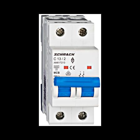 Intrerupator automat bipolar MCB, AMPARO 6kA, C 13A, 2P Schrack