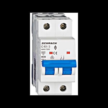 Intrerupator automat bipolar MCB, AMPARO 6kA, C 63A, 2P Schrack