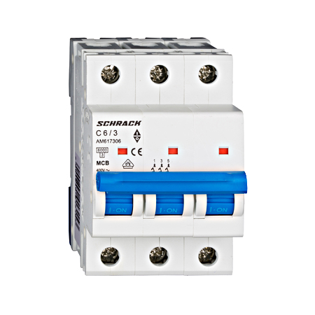 Intrerupator automat tripolar MCB, AMPARO 6kA, C 6A, 3P Schrack