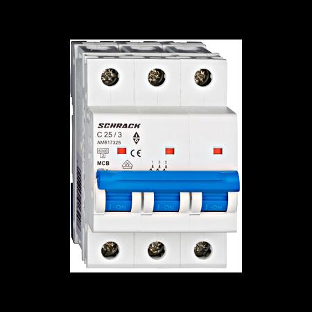 Intrerupator automat tripolar MCB, AMPARO 6kA, C 25A, 3P Schrack