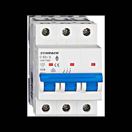 Intrerupator automat tripolar MCB, AMPARO 6kA, C 63A,  3P Schrack