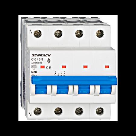Intrerupator automat tetrapolar MCB, AMPARO 6kA, C 6A, 3P+N Schrack