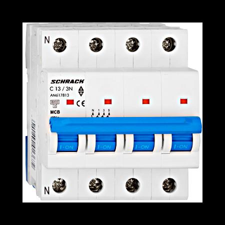 Intrerupator automat tetrapolar MCB, AMPARO 6kA, C 13A, 3P+N Schrack