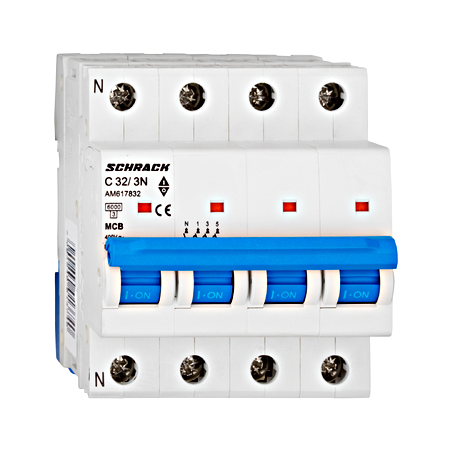 Intrerupator automat tetrapolar MCB, AMPARO 6kA, C 32A, 3P+N Schrack