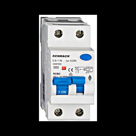 Intrerupator automat+ diferential 1P+N, AMPARO 6kA, C 6A, 30mA, tip A Schrack