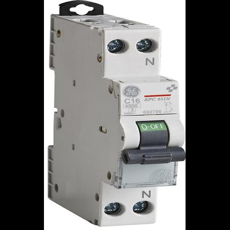 Siguranta automata FAZA+NUL 1P+N 4,5kA 20A/C MCB  General Electric