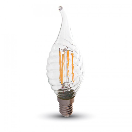 Bec LED Filament,4 w,E14,lumina alba,bulb sticla tip flacara lumanare curbat  V-tac