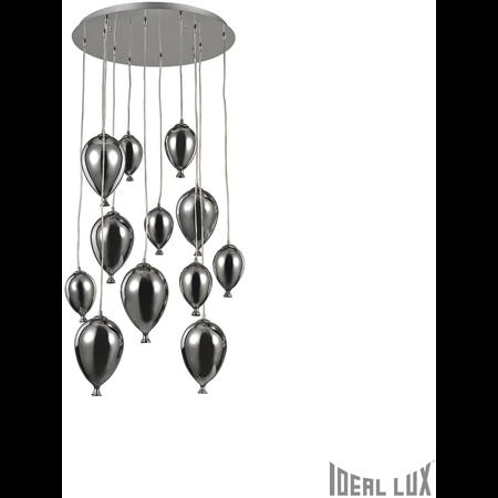 Corp de iluminat din sticla suflata si prelucrata manual sub forma de balon cromat 12x40W Ideal Lux