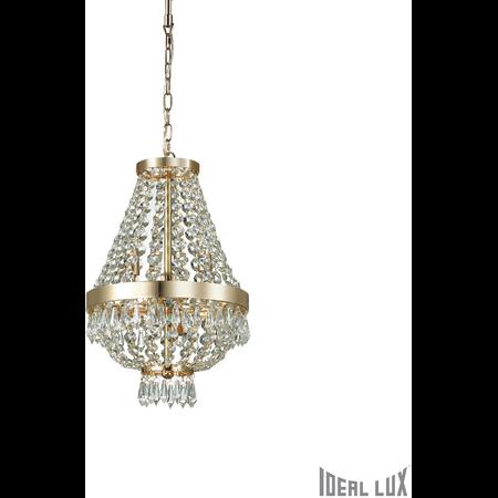Candelabru cu margele din cristal si elemente decorative octogonale 4x40W Auriu Ideal Lux
