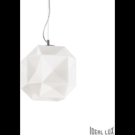 Pendul Diamond mediu, 1 bec, dulie E27, D:280mm, H:500/1300mm, Alb Ideal Lux