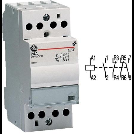 contactor modular Contax, 24A, 24V, CA/CC, 2 modulE, 2ND 2NI, Alb General Electric