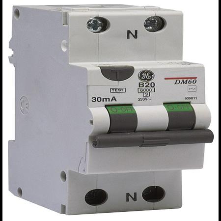 Intrerupator diferential ultrasensibil RCCBO , 6kA C 6A  10MA AC    General Electric