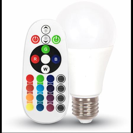 Bec cu LED RGB + W 2700k cu telecomanda  - 6W E27 A60 termoplastic VT-2022 V-tac