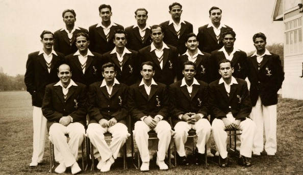 The 1954 Pakistan cricket team, captained by Abdul Kardar (seated in the middle)