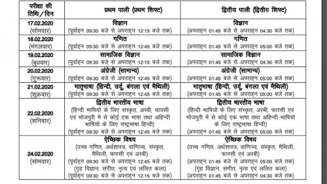 Bihar Board, 10th Exam, Date Sheet
