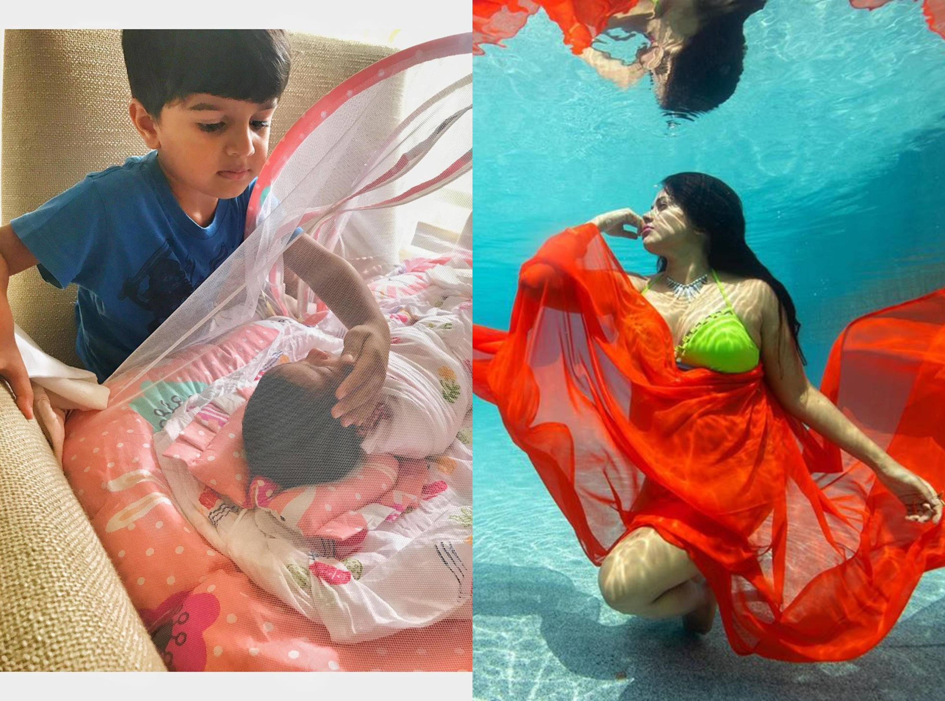 Love at first sight...Sameera's son 'fascinated' by his newborn sister