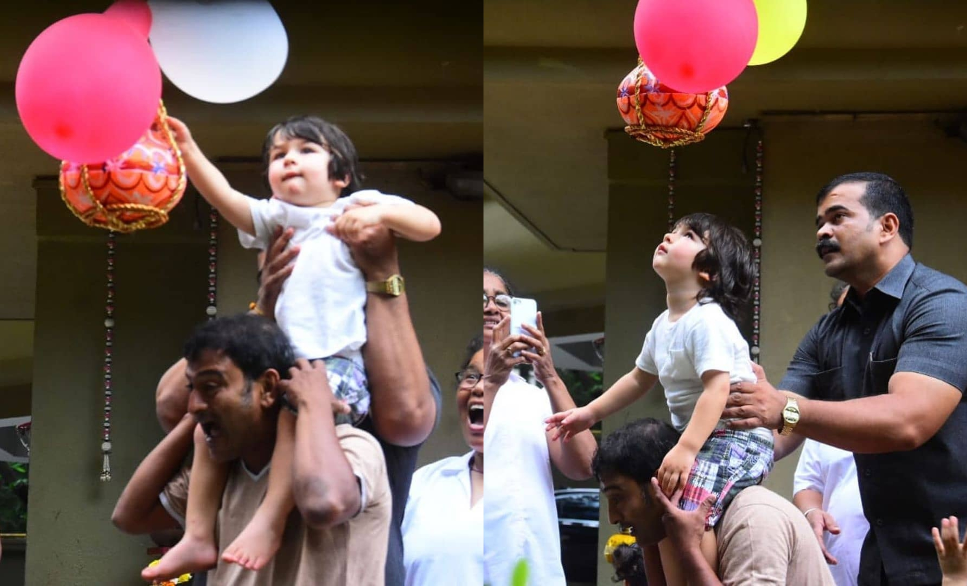 Taimur tries to break dahi handi; see his viral video