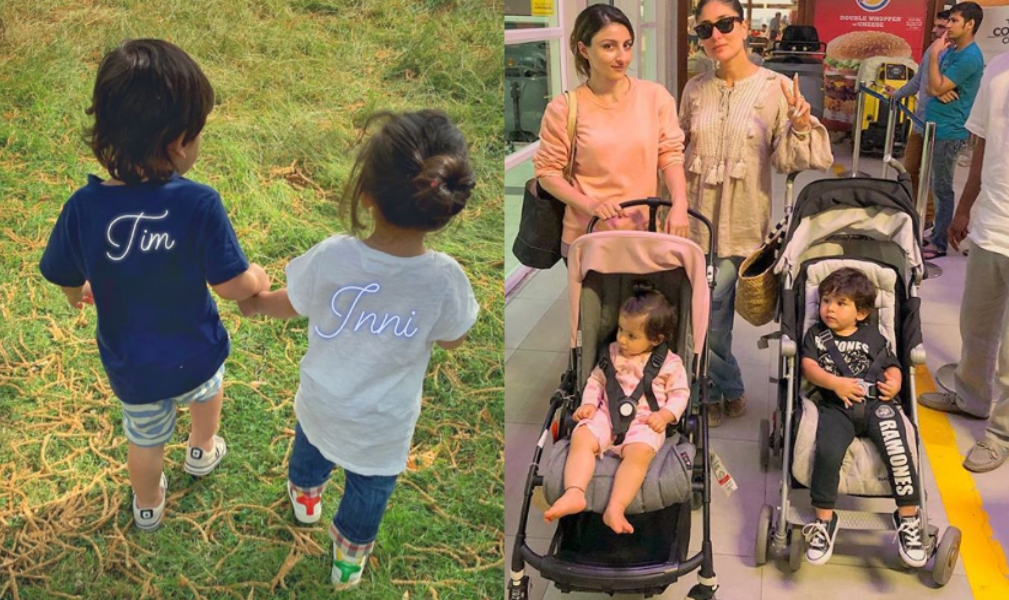 Taimur walks hand in hand with cousin Inaaya in park, see pics