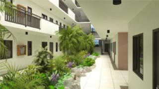 Ample Space: Single-loaded corridors with atrium in the middle