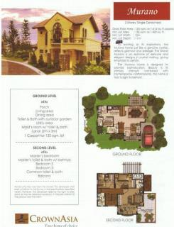 Murano model- 2 storey single dettached house with 3BR, 3CR,, maidsroom, carport, balcony, 150 sqm flr area, 132 sqm min lot area