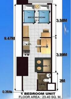 Floor Plan - 1 Bedroom Unit