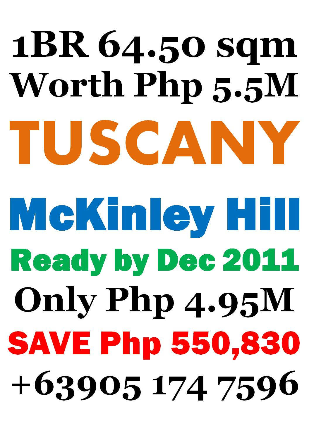 1 BedRoom Loft 64.5sqm - Save Php 550,830 - Tuscany McKinley Hill