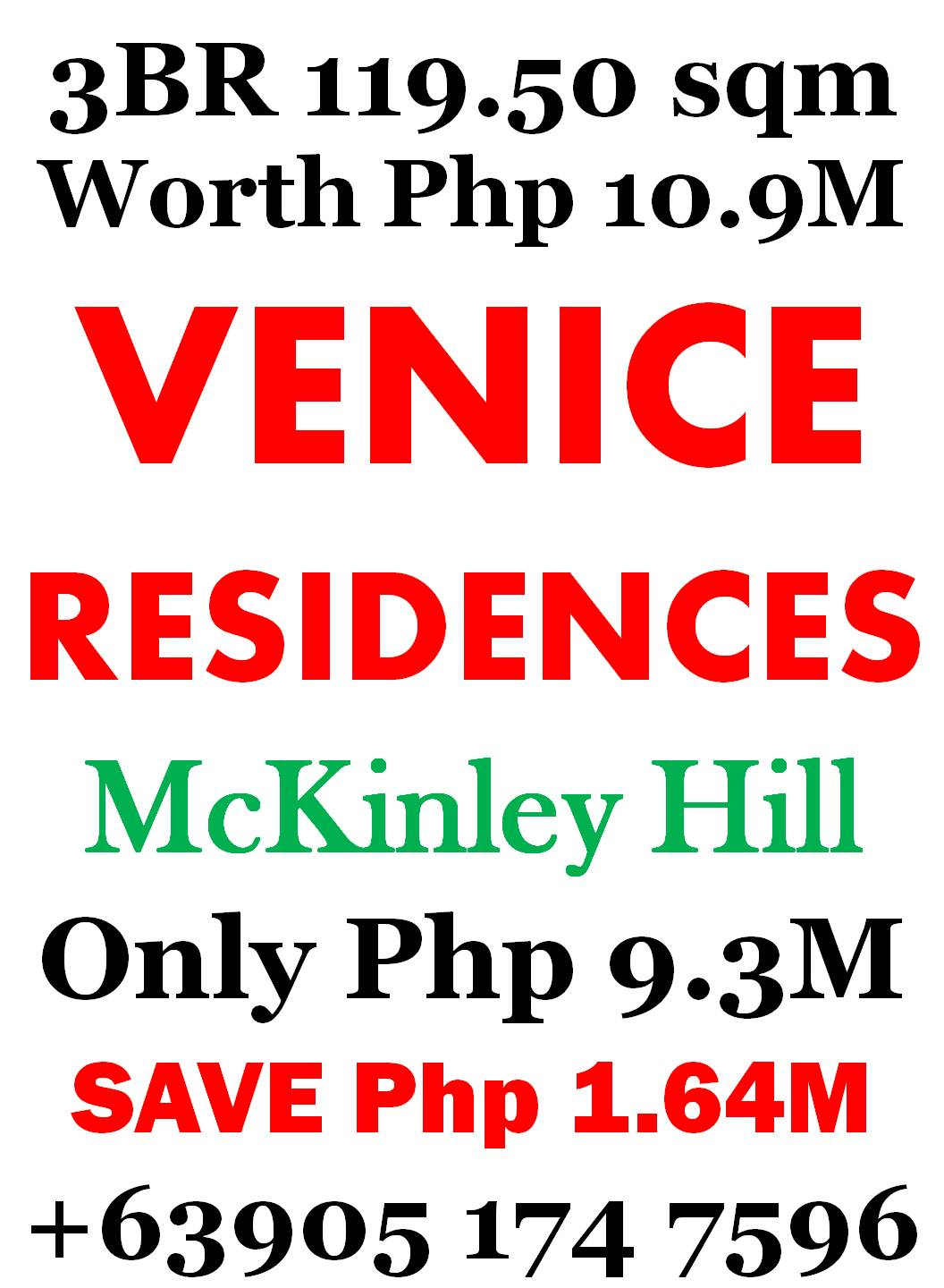 Php 9.3M - 3 BedRoom Condo + Balcony Venice McKinley Hill - Php 1.64M OFF