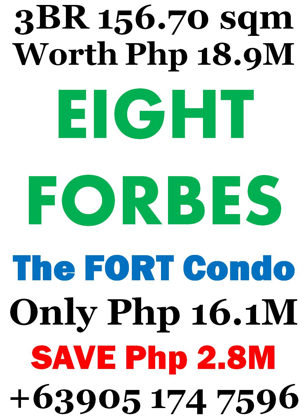 3 Bedroom The Fort Condo beside Manila Golf Save Php 2.8M
