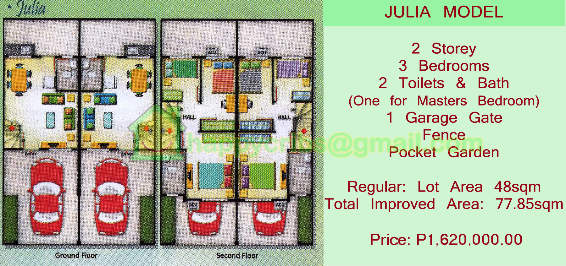 JULIA MODEL FLOOR PLAN, 3 BEDROOMS, 2 T&B