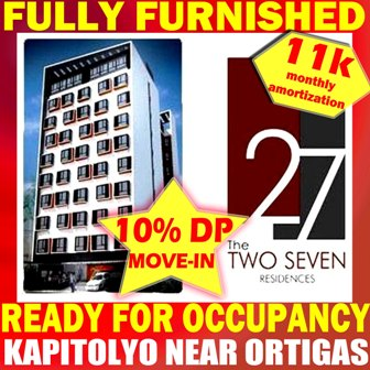 Two Seven Residences Baran Kapitolyo Pasig City Near Shaw Blvd Ortigas Center Mrt Edsa For Apartment Condo Townhouse