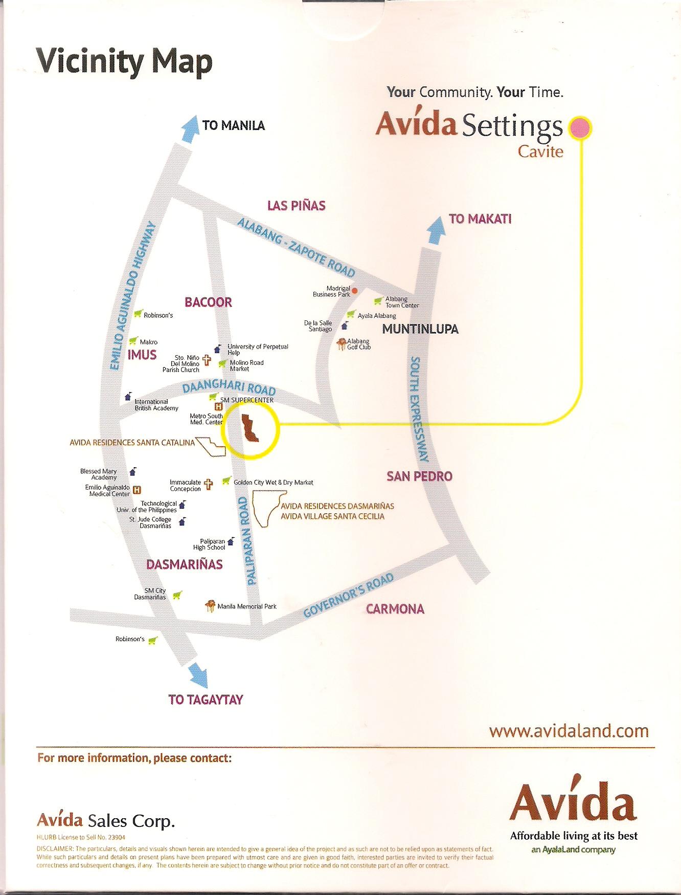Avida Settings Cavite - Vicinity Map
