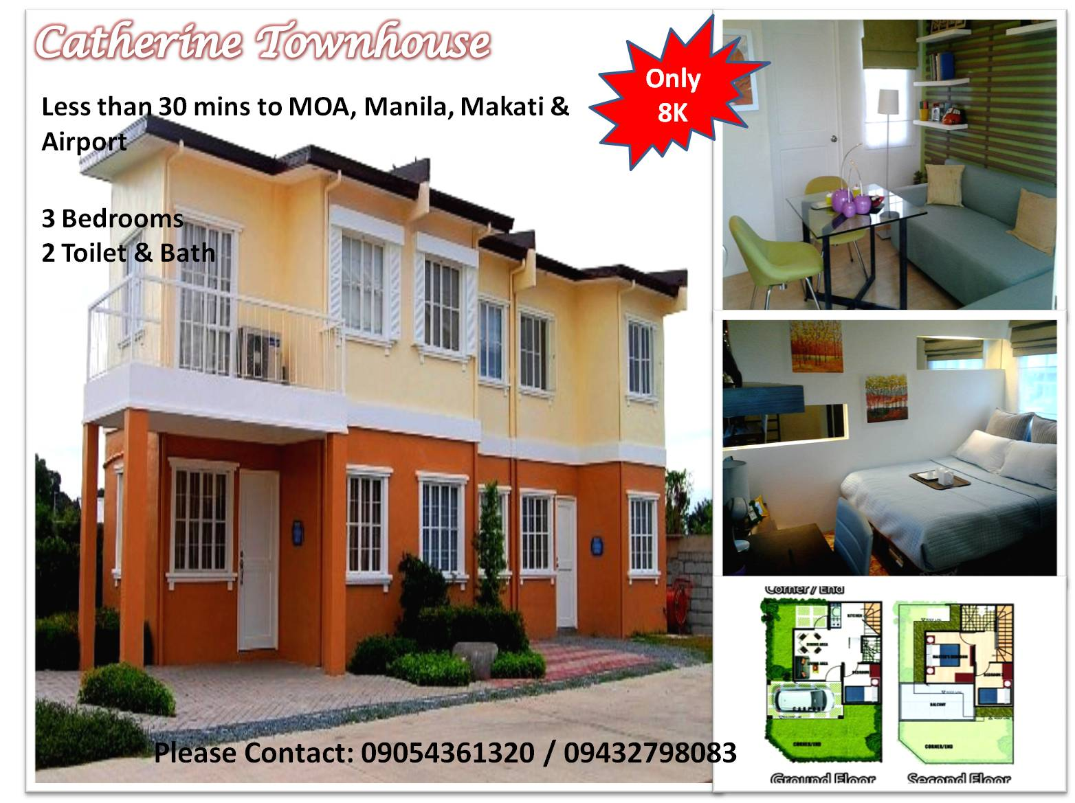 Affordable House & Lot for Sale Catherine Townhouse 3 bedrooms,  T&B near Mall of Asia & Airport