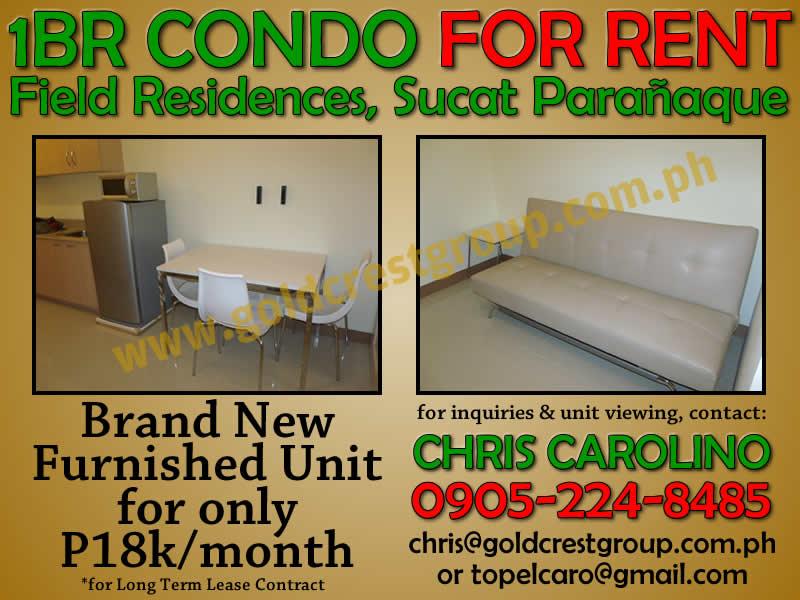 condo for rent sm field residences sucat paranaque