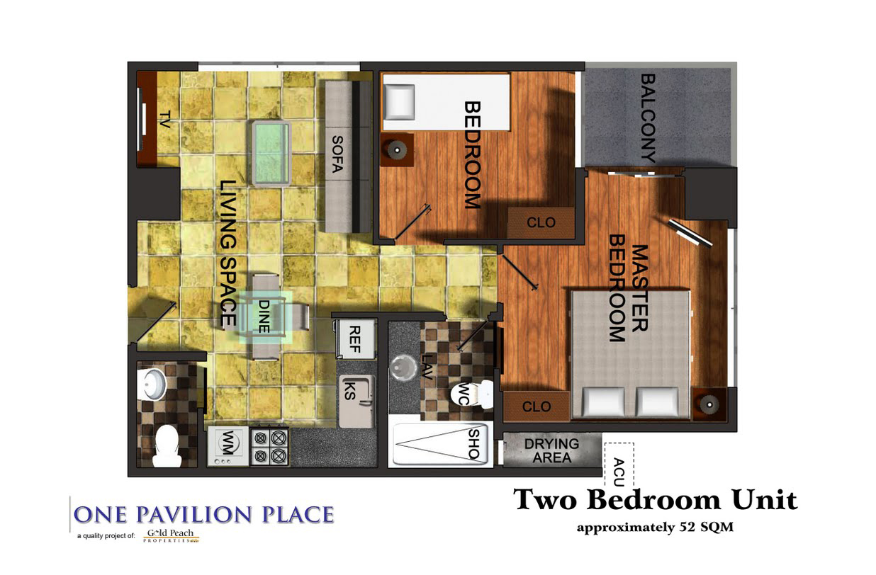 One Pavilion Place 2BR floor plan