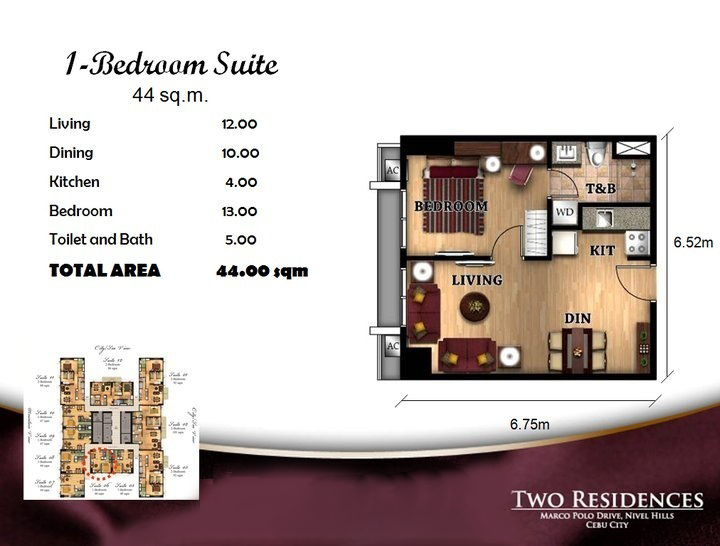 Marco Polo Two Residences 1BR floor plan
