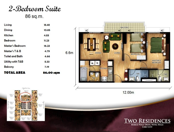 Marco Polo Two Residences 2BR floor plan