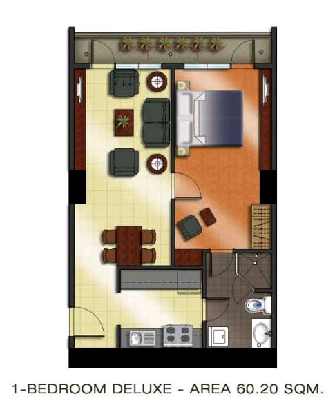 The Padgett Place 1br deluxe floor plan