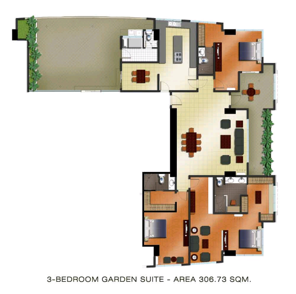 The Padgett Place 3br garden suite floor plan