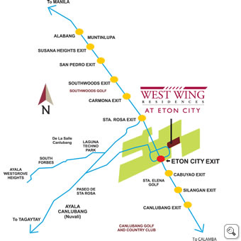 west wing residences location map